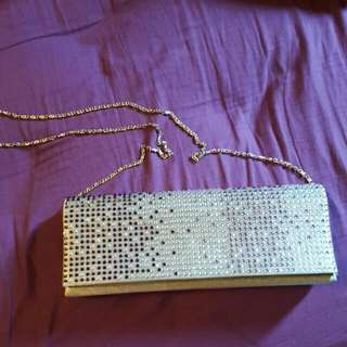 Grey Bedazzled Clutch With Of Without Chain