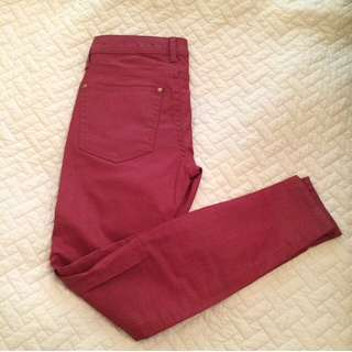 Red Leather Look Jeans // Size 2