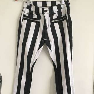 Black And White Striped Witchery Jeans