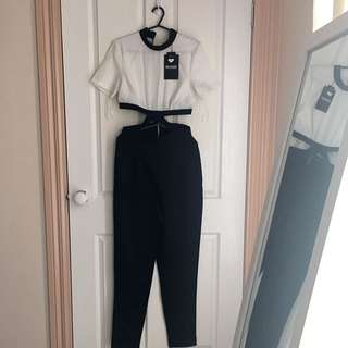 Misguided Black And White Jumpsuit