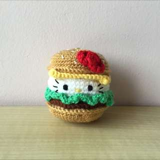 Hello Kitty burger (with desired name tag or message tag)