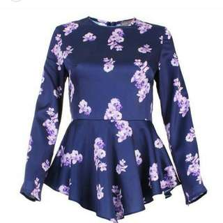 Silk Satin Peplum Blouse (Size XL)