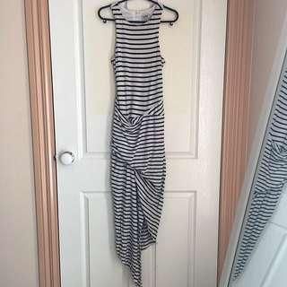 Asymmetric Striped Maxi Dress Size 6