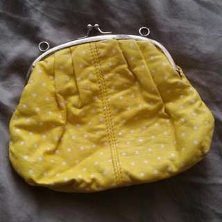 Yellow Dotted Small Clip Bag