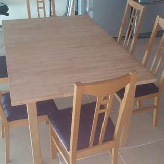 Thick Wooden Dinning Table With 6 Chairs