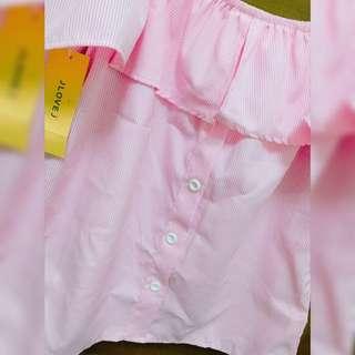 ㄧ字領甜美上衣 粉紅