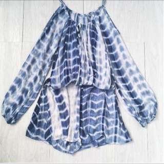美國 藍色手染 棉麻 連身褲 長袖連身短褲
