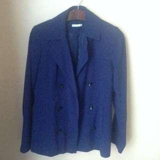 Dark Blue Buttoned Coat Size 8