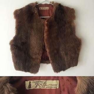 VINTAGE fur cropped vest