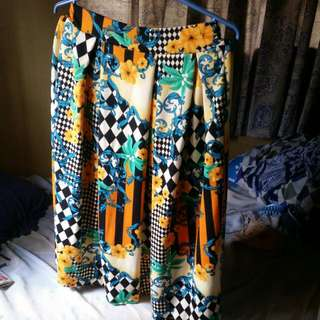 Floral Skirt Below Knee Length