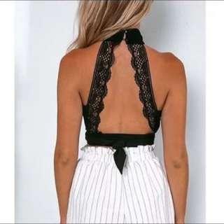 蕾絲 露背 綁帶 背心