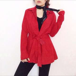 Red Lamb Skin And Suede Double Sided Jacket
