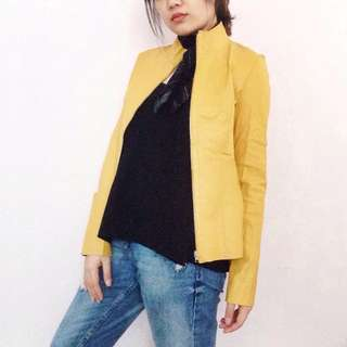 Mustard Yellow/ Black Lamb Skin Double Sided Jacket