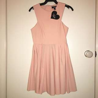 Peach Tailored Skater Dress