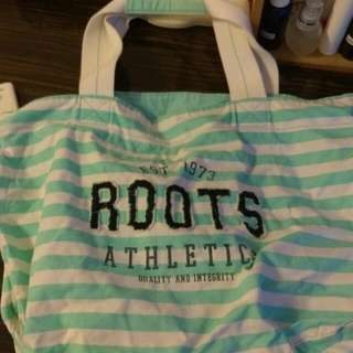 正版roots肩背帆布袋