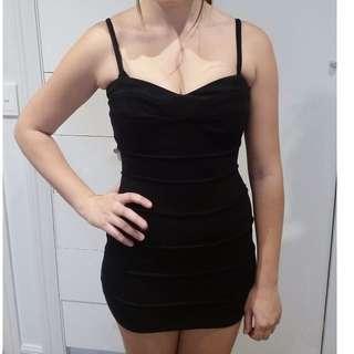 black cotton bandage dress adjustable straps size 8-10