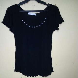 Black Tops with Pearl beads