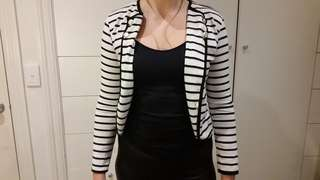 stripped white and blue jacket gold buttons