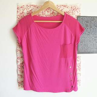 XS Ted Baker Pink Pocket Button Top