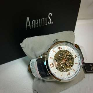 Arbutus Men Black Tie Skeleton Watch (AR613TRWB)