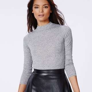 Missguided Eleanor Long Sleeve Jersey Turtle Neck Grey Marl