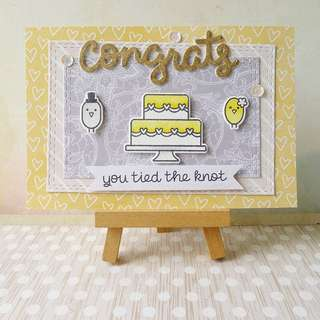 Handmade Wedding Card #1610 - Congrats Yellow And Gold Theme Tiered Cake