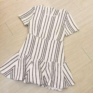 正韓特賣,白色紋理線條短袖合身洋裝