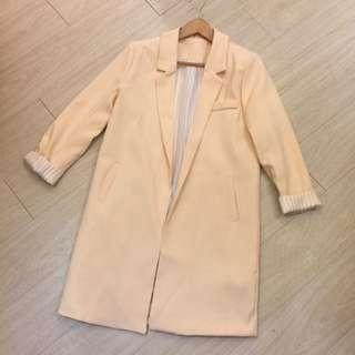 正韓特賣,粉杏色挺版西裝外套 反折袖條文