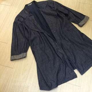 正韓特賣,超韓的over Size 深藍牛仔風衣外套