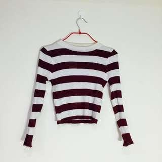 紅白條紋長袖短T
