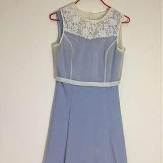 兩件式A字純棉藍短洋裝