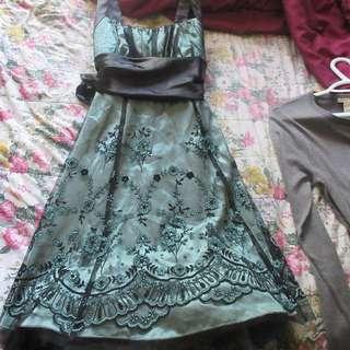Green Black Net Dress