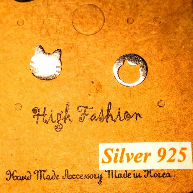 *3款* 925純銀韓製耳環 貓咪,小鳥,魚骨頭