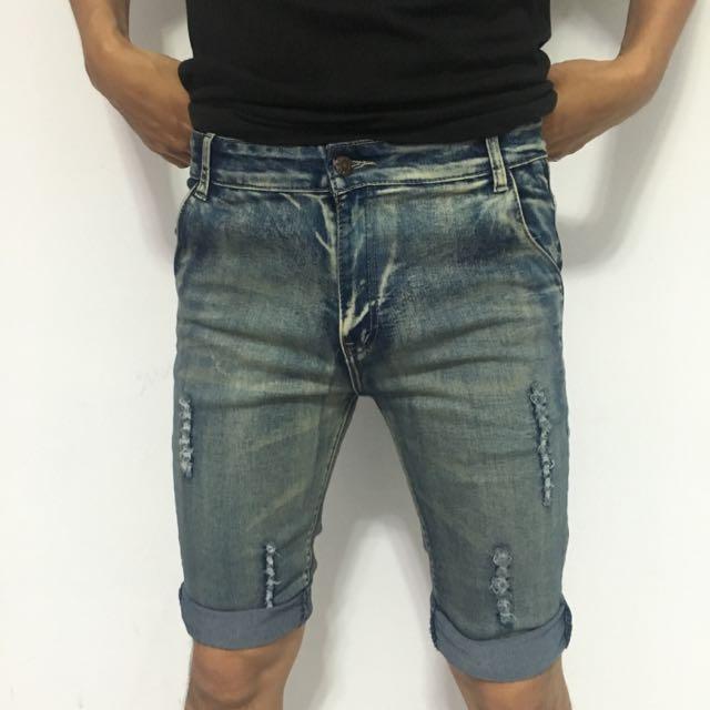 彈性6分牛仔褲