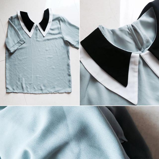 全新✨氣質領子雪紡上衣