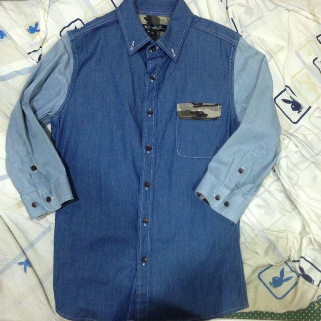 牛仔藍拼接襯衫