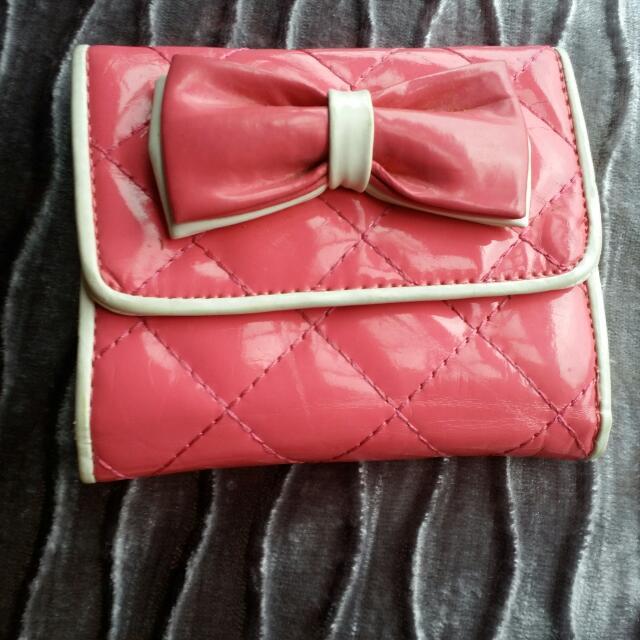 蝴蝶結粉色皮夾