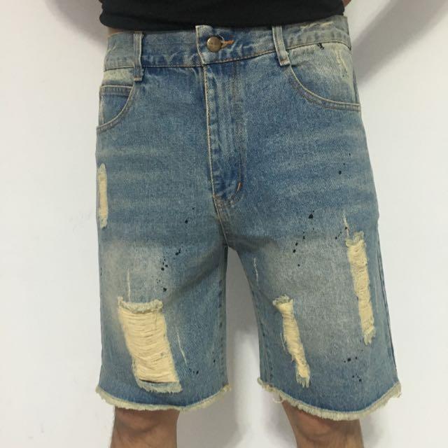 刷破牛仔短褲(淺)