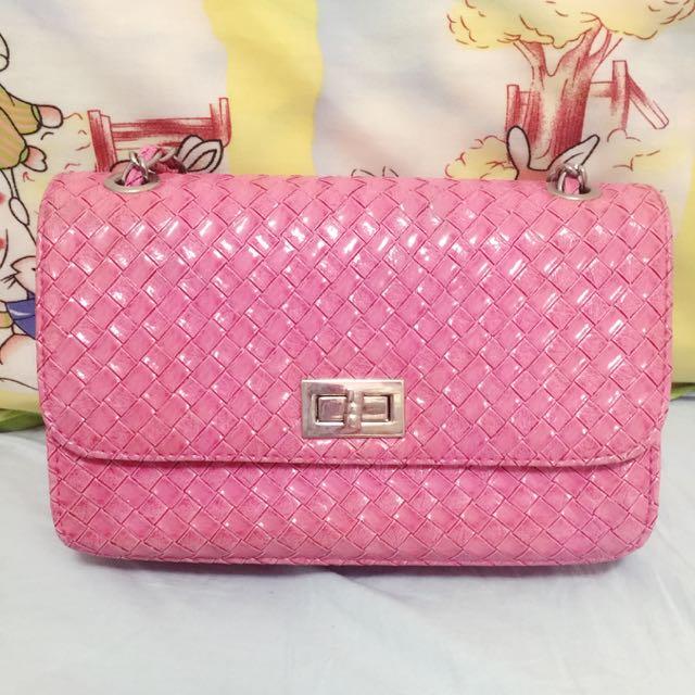 桃粉色 日系側背包 肩背包 小方包