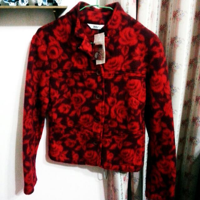 全新!滿版玫瑰 百貨專櫃 毛衣外套 拉鍊