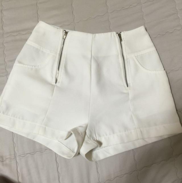 白色 短褲 中高腰 拉鍊
