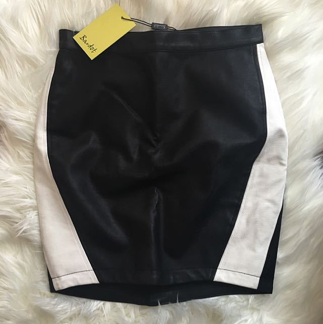 Bardot Leather Contrast Mini Skirt