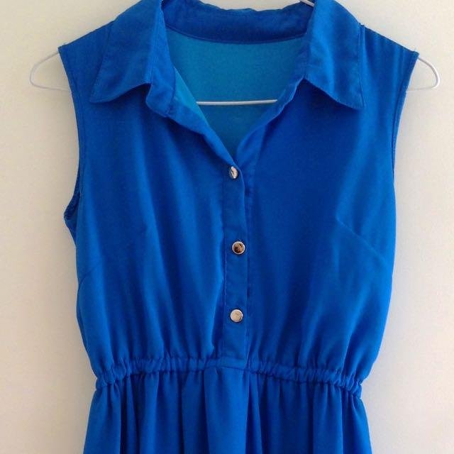 blue chiffon high-low dress