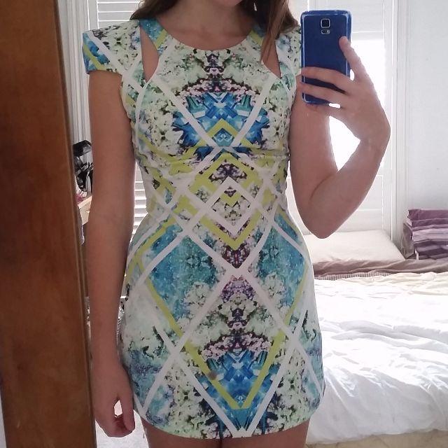 blue green kaleidoscope dress comfortable size 10