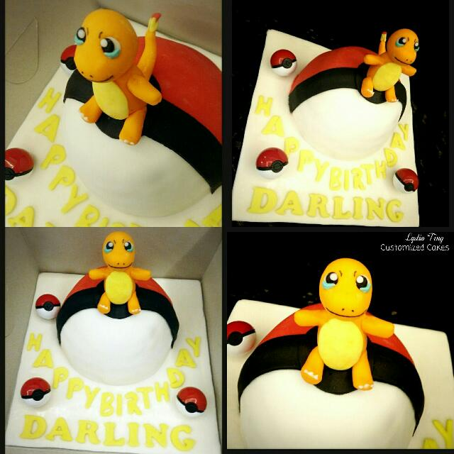 Astonishing Cake Pokemon Pokeball Pokemon Go Charmander Customized Fondant Funny Birthday Cards Online Elaedamsfinfo