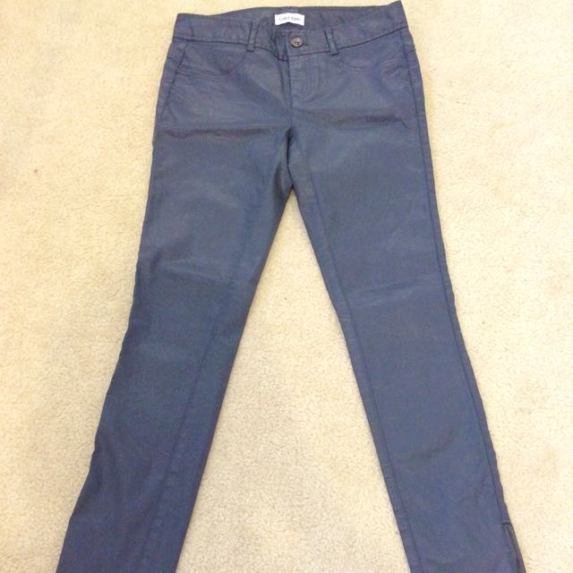 Calvin Klein Grey Leather Jeans