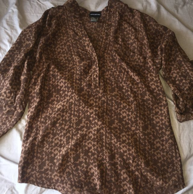 Central Park West From Aritzia Brown Fall Blouse