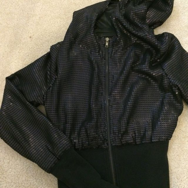 DKNY Black Matt Sequin Hooded Jacket