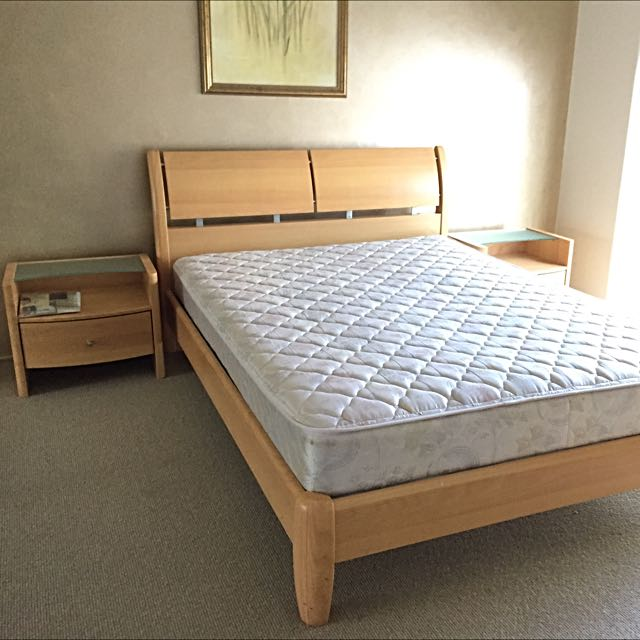 Double Bed With Mattress & 2 Side Tables