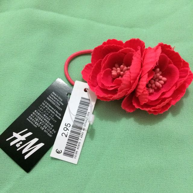 H&M Shocking Pink Flower Hair Tie